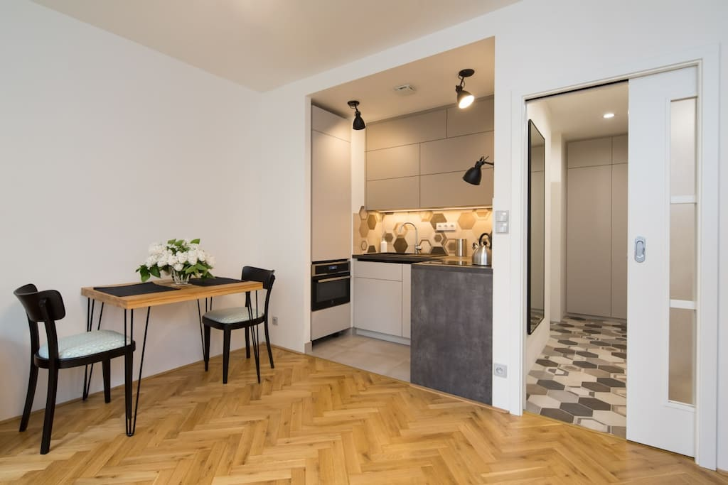 Small kitchen, design table and chairs.