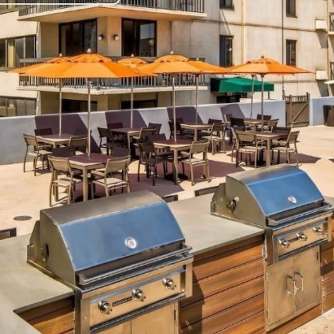 Beautiful grills to barbecue yummy foods and relaxing seating areas to enjoy the view sun and food