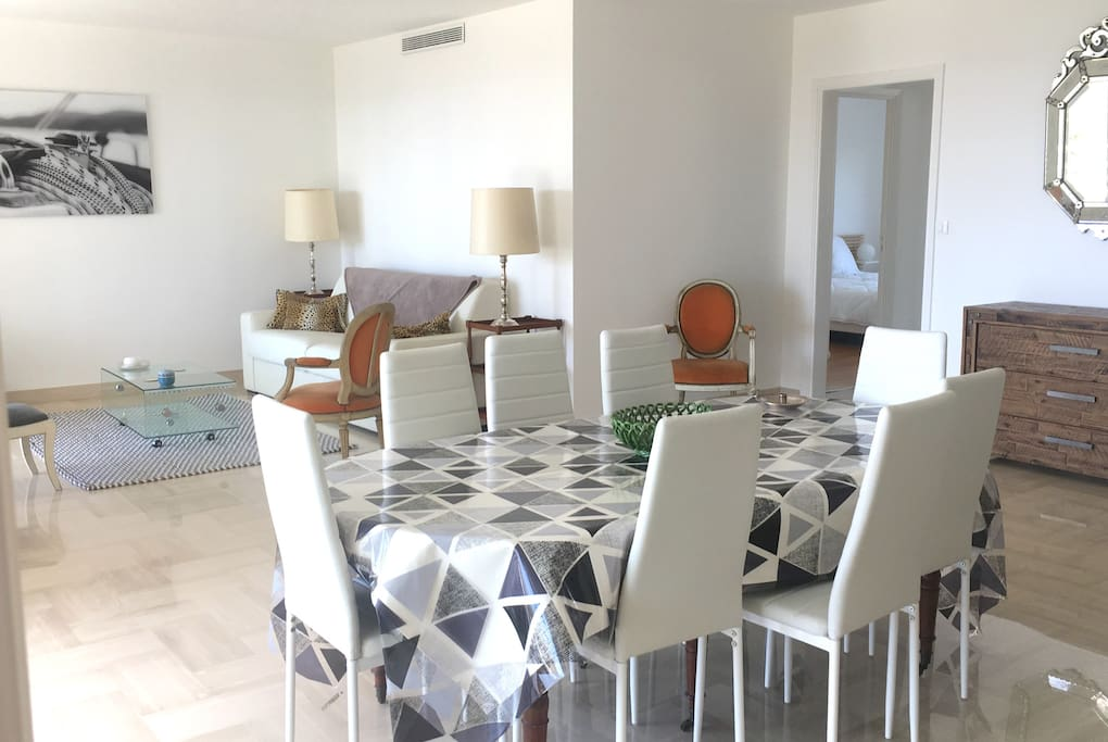 Dining table for 8 people in a bright living-room
