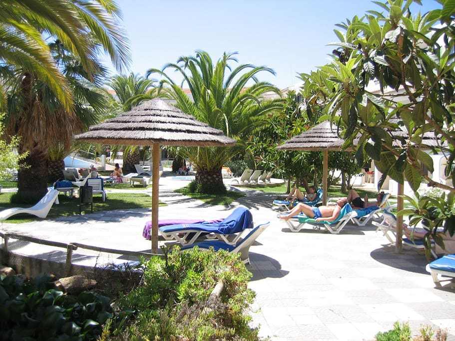 one of the lounging areas by the pool and gardens