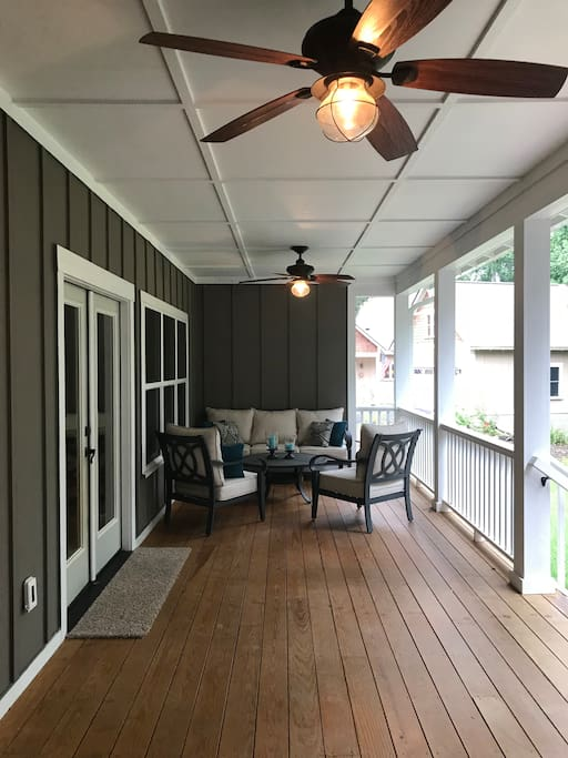 Large porch with seating area