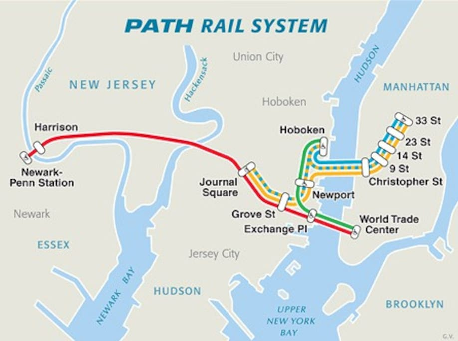 Path Train Map to NYC or Newark, closest station is Journal Square, approx 1/4-1/2 mile walk
