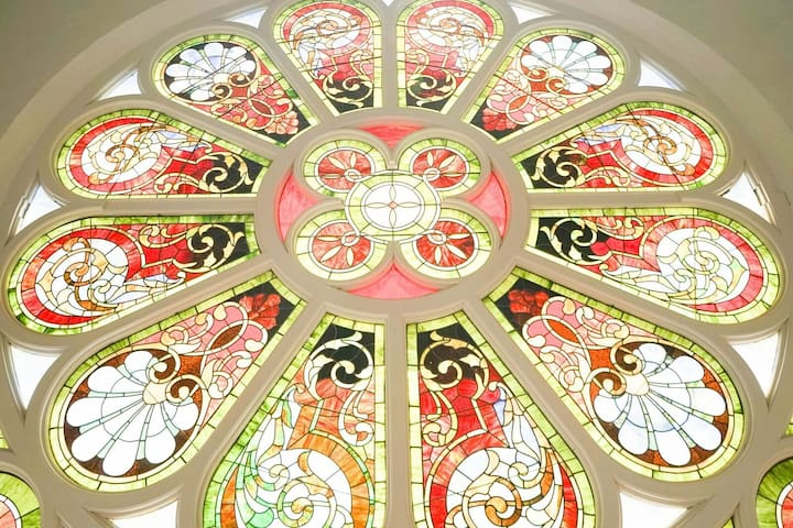 Beautiful view of the vibrant stained glass windows!