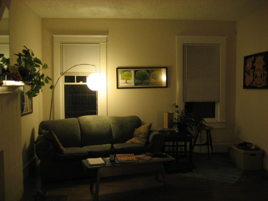 Cozy living room. The first room you'll encounter upon entering the house.