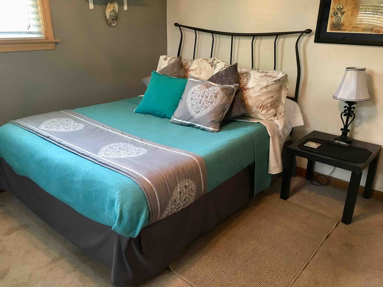 Cozy Full size bed for 2 with nightstand & Lamp