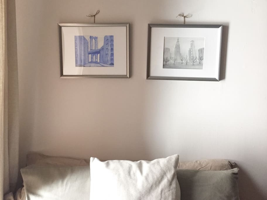 Enjoy the New York skyline in the apt. with this original art work.