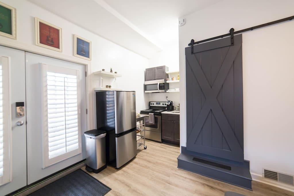 Kitchen area and front door