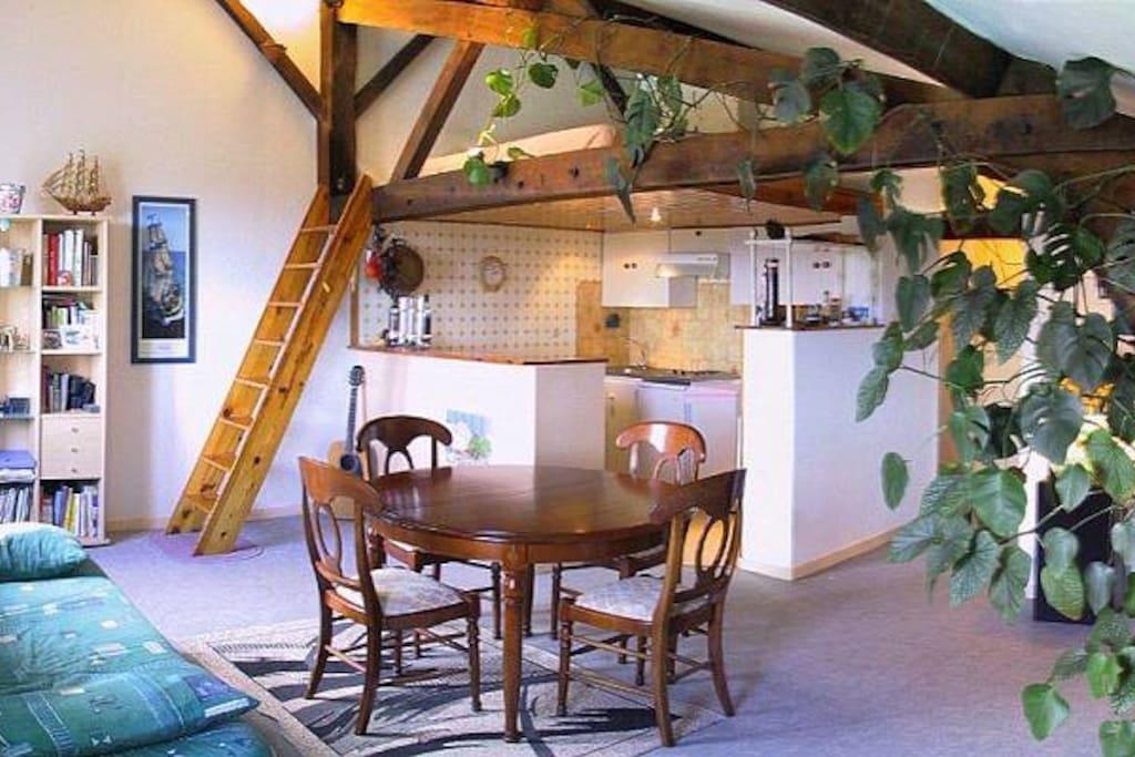 espace à vivre avec salon cuisine américaine et au dessus mezzanine avec couchage 140