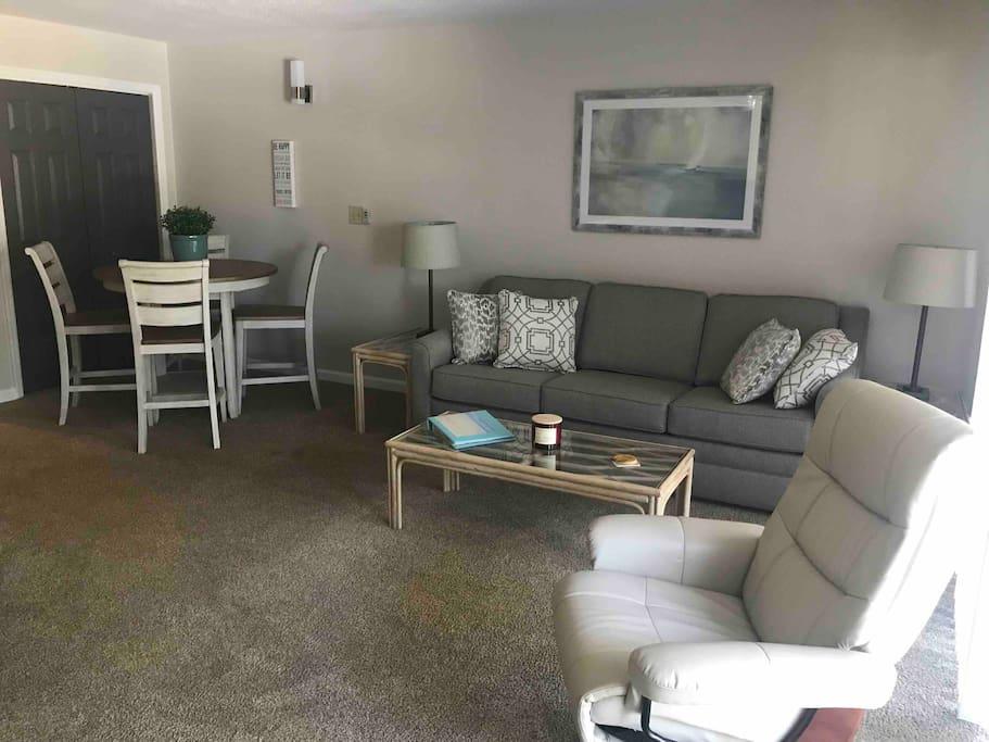 Open floor plan with new furniture.