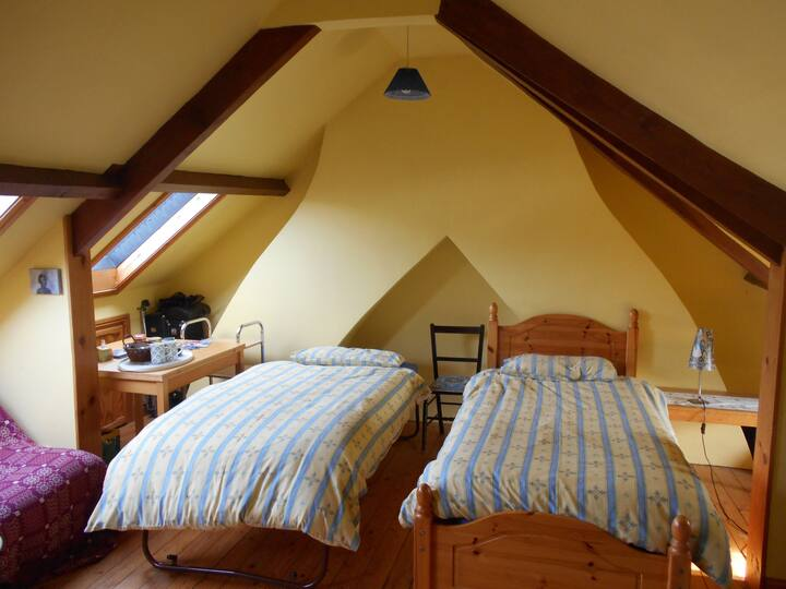 Attractive relaxing attic with view