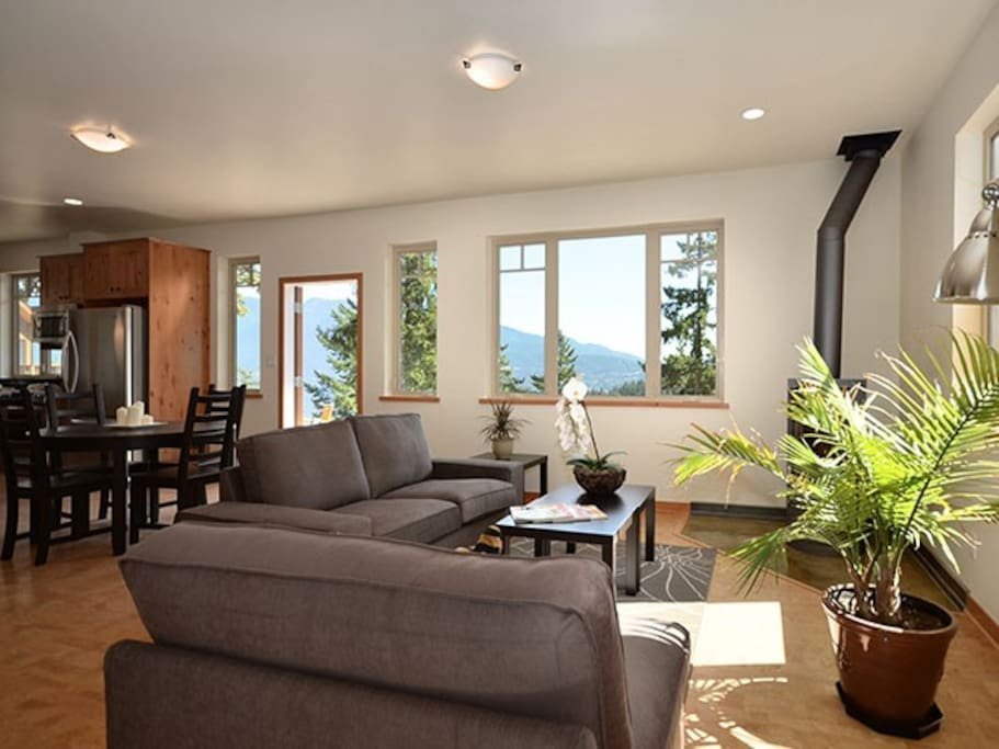 Plenty of bright light filters into the living room morning and afternoon