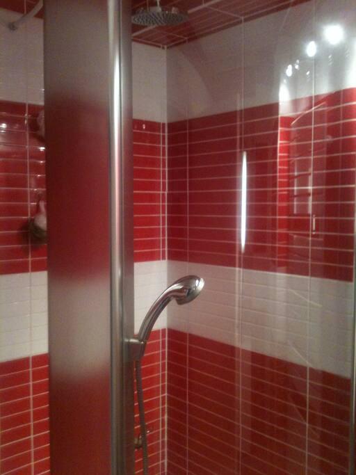 Salle de bain avec douche a jets