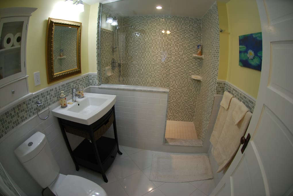 Large, bright bathroom with walk-in shower.  There is a big sky light in the bathroom which lets in lots of natural light.