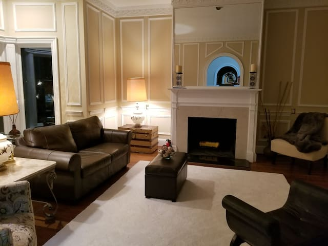 living-room with one of 4 fire places