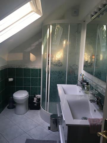 Salle de bain et WC commune aux 3 chambres