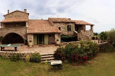 Le Mas du Plantier - chambre avec vue piscine - Payzac, Ardèche