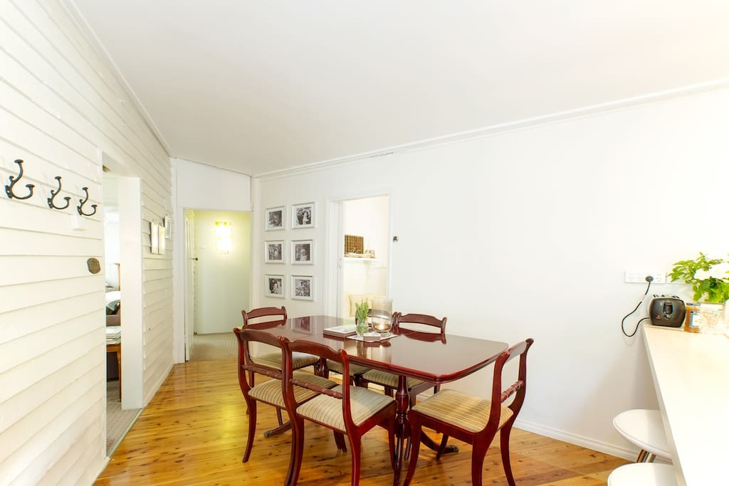 Dining room with extension table for six.