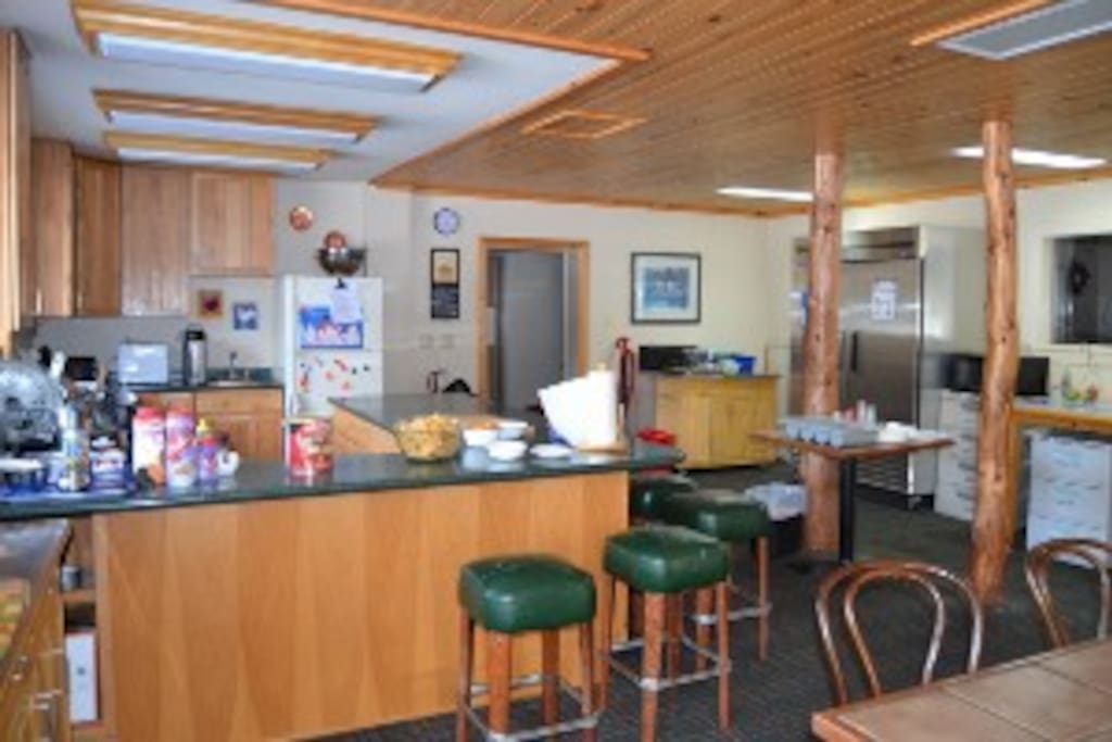 Guest kitchen!!! Fully equipped for all guest to use.  Located in the Main Lodge.