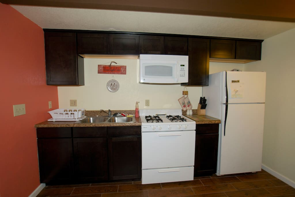 Kitchen complete with all that is needed to save money and cook your own meals