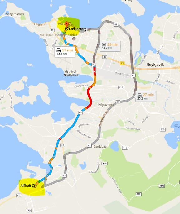 Distance to downtown Reykjavik 20 min by car