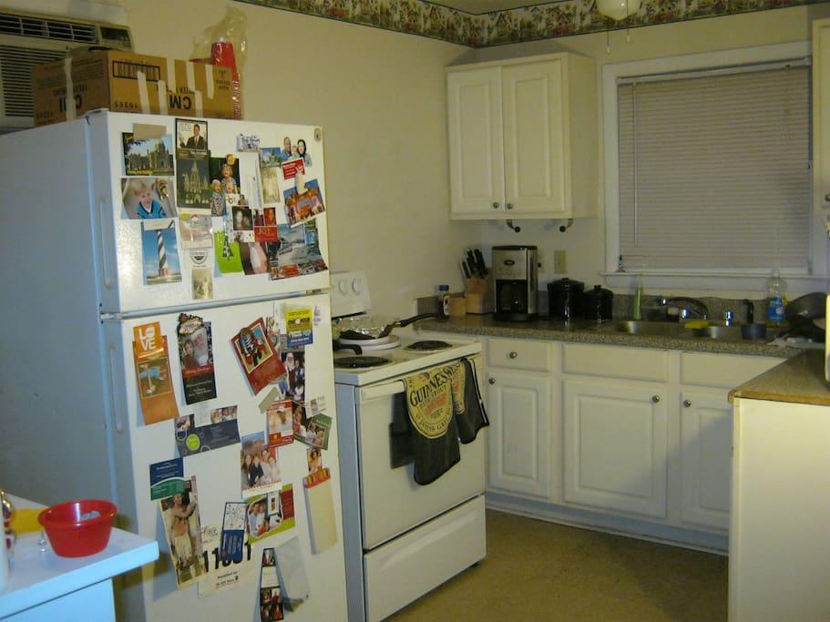 Nice kitchen-coffee maker, microwave,utensils, pots/pans,etc.