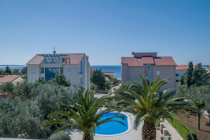 Two Bedroom Apartment, seaside in Novalja - island Pag, Outdoor pool, Terrace