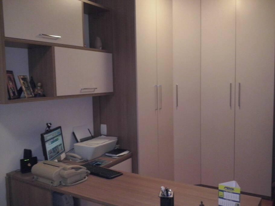 suite with a desk
