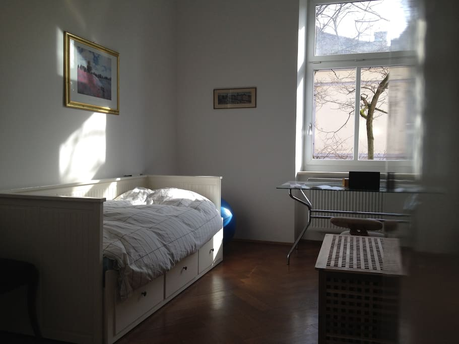 about 20m2 (your)  room, the bed is also a double bed 160cm