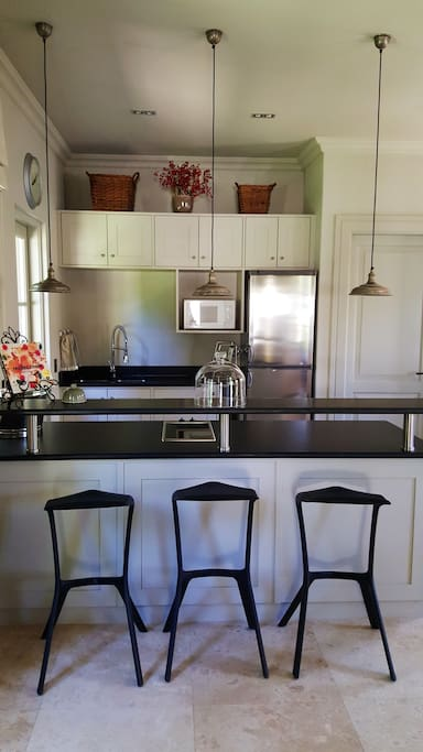 Kitchen with hot plates (stove), fridge and microwave. Granite tops