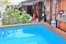 pool and sauna beside.