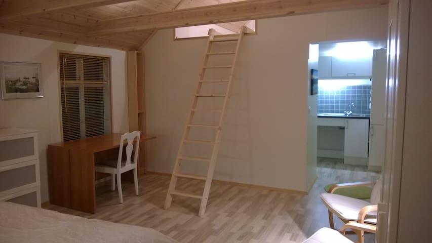 Looking up at sleeping loft