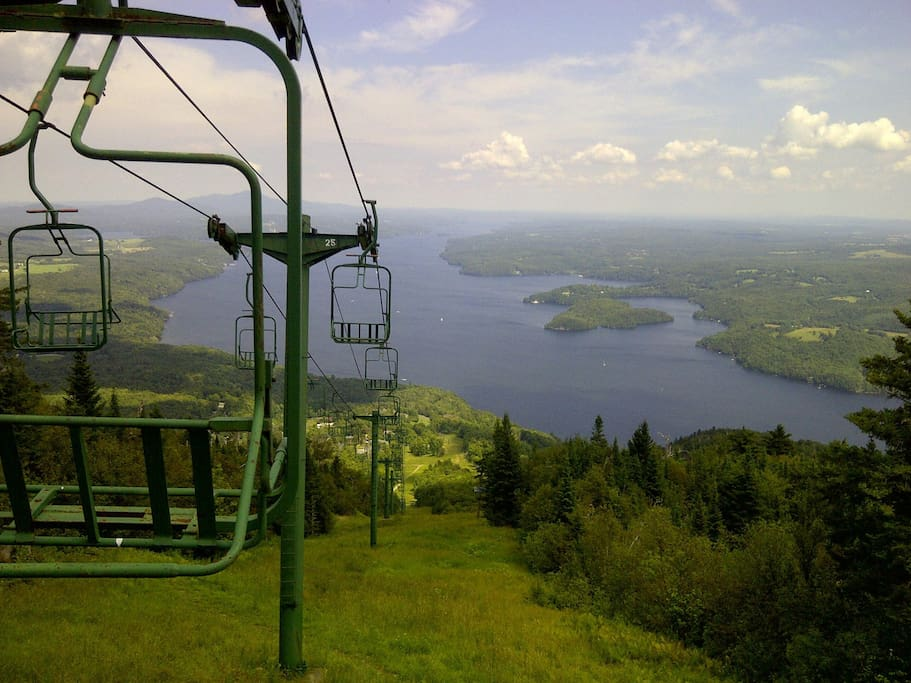view ski and lake in summer time