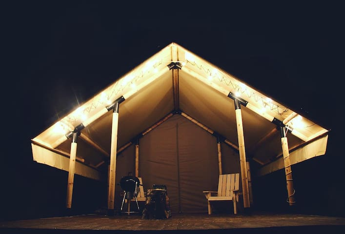 Glamping tent in forest