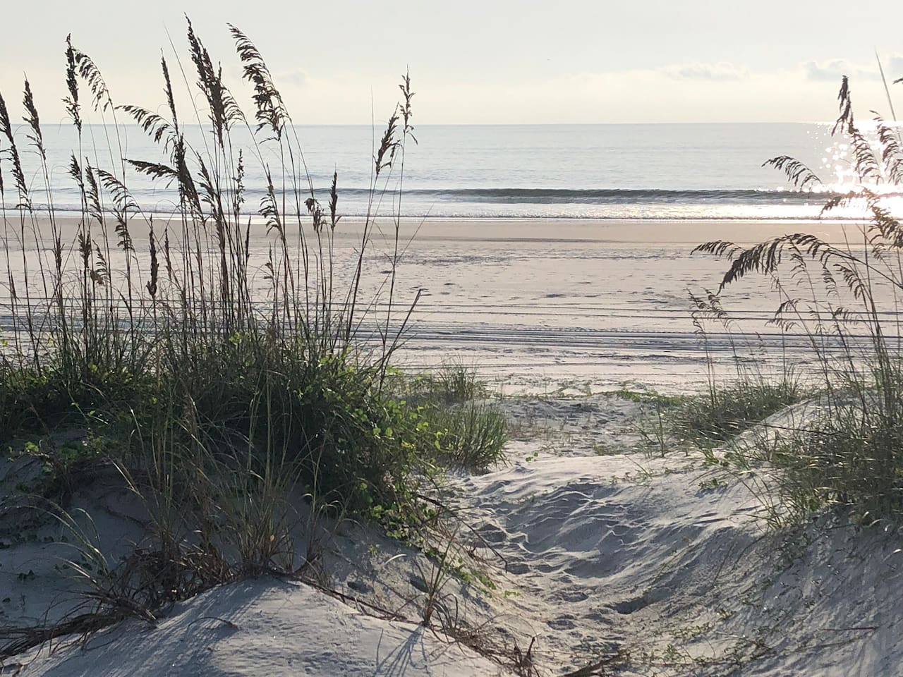 Crescent Beach beautiful white sand 3 minute private walk from condo to beach through the dunes.