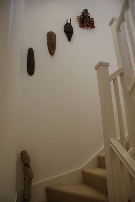 Stairs leading up to the TV lounge