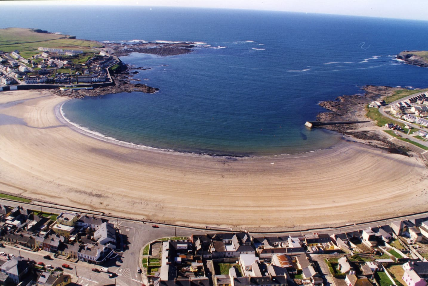 Aerial View of Kilkee Bay and Beach. Accommodation 100mtrs from this beautiful vista.