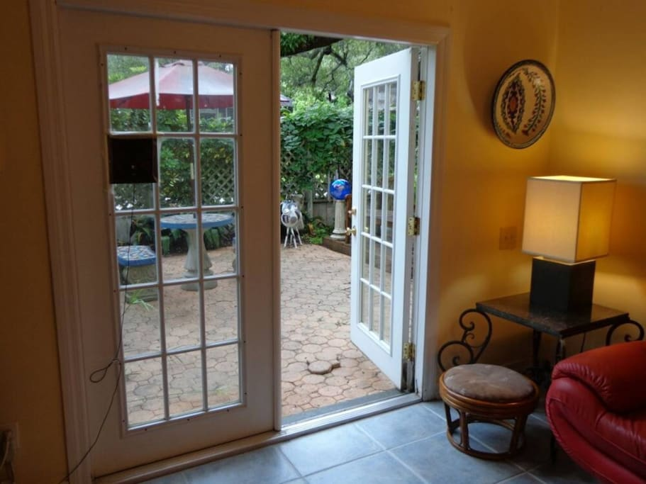Looking out into the courtyard from the living room