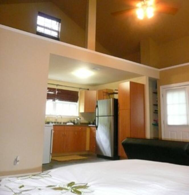 The vaulted ceiling gives the apartment a spacious feeling.