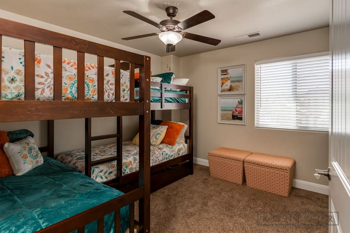 Upstairs Bedroom #3 With TWO Bunk Beds & Storage Bins For The Kids