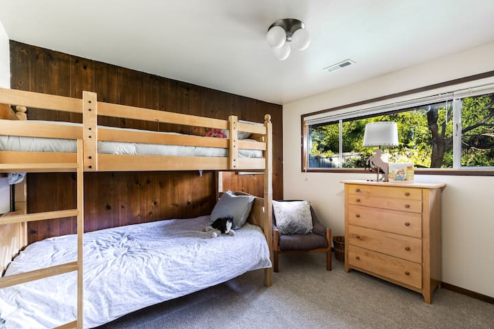 Next bedroom to the left is twin bunk beds.
