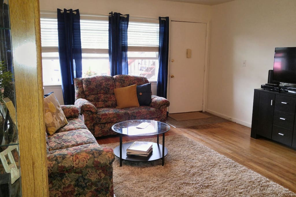 Living room with smart TV, cable, Wifi and pullout couch