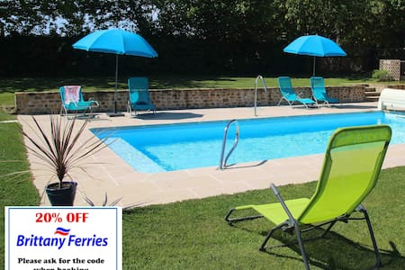 Le Hutereau Gites -Muscadet- Heated swimming pool