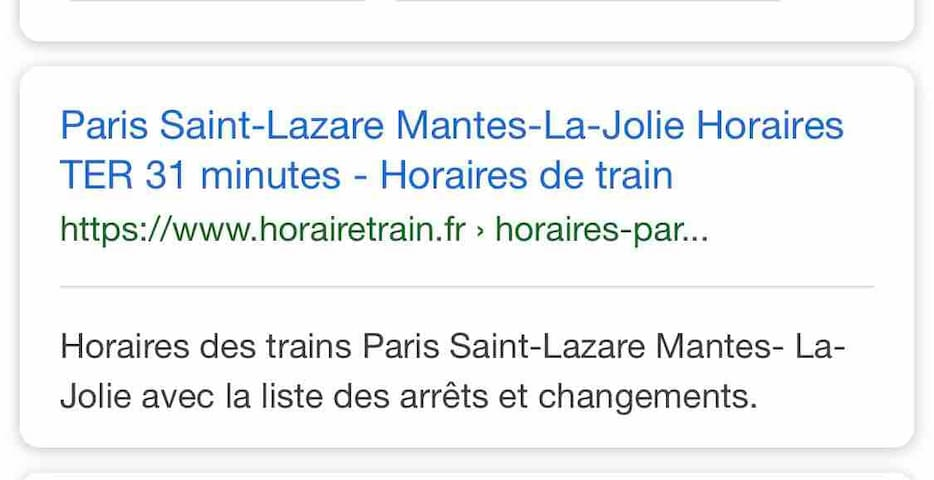 Chambre privée à 35 minutes en train de Paris.