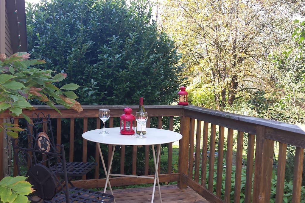 Private patio... perfect to share a glass of wine in the Summer or to stow your snow gear in the Winter.