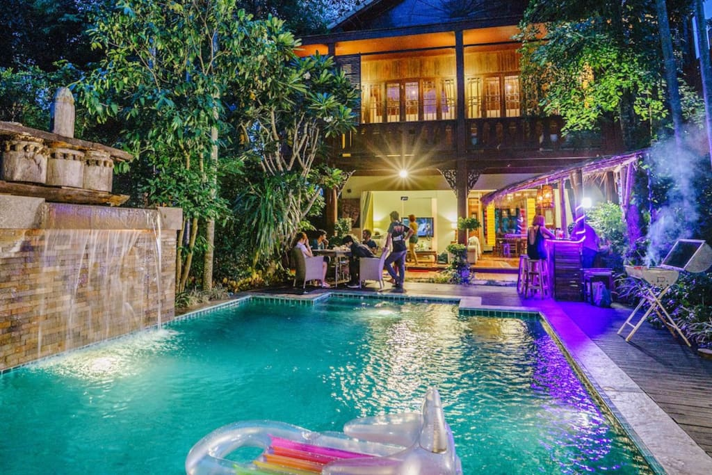 Evening by the Private Pool