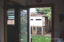 The tiny house is just steps away from the coop where you can help yourself to fresh eggs. Photo by Christiann Koepke with Portland Fresh.
