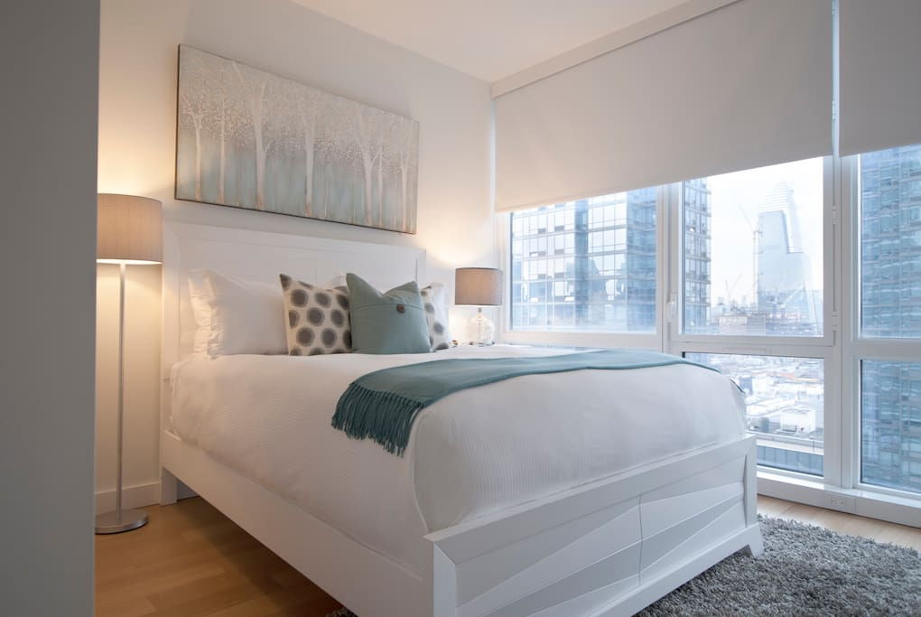 Our gorgeous Bedroom offers a queen bed, spacious closets, and great views.