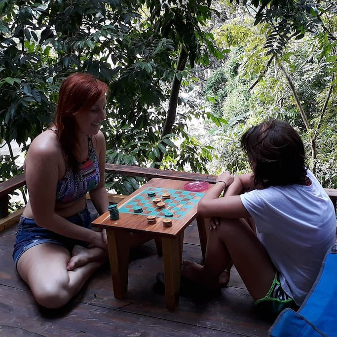 Handmade boardgames on the deck