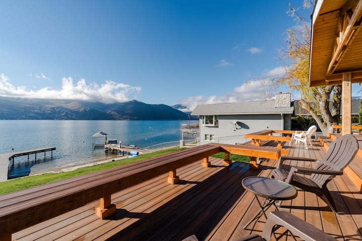 Lovely lakefront home w/private dock & spacious back deck facing Lake Chelan!