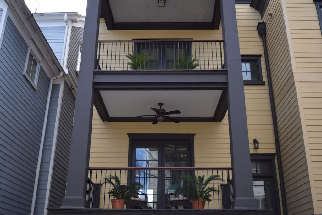 Three story townhouse with a balcony on every floor